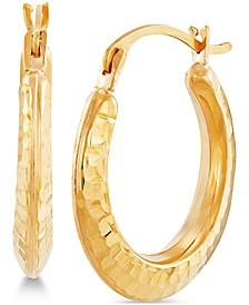Hammered Hoop Earrings in 14k Gold