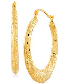 Small Basket Weave Texture Hoop Earrings in 14k Gold