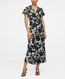 Embossed Flower Gown Dress