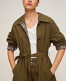 Buttoned Long Trench Coat