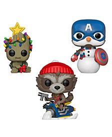 Pop Marvel Holiday Marvel Collectors Set 2 - Groot, Rocket, Captain America