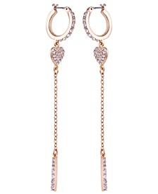 Gold-Tone Crystal Heart & Chain Drop Huggie Hoop Earrings
