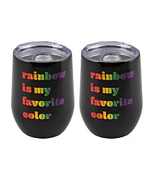 "Double Wall 2 Pack of 12 oz Black Wine Tumblers with Metallic ""Rainbow is My Favorite Color"" Decal"