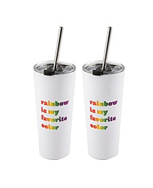 """Double Wall 2 Pack of White 24 oz Straw Tumblers with Metallic """"Rainbow is My Favorite Color"""" Decal"""