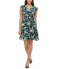 Madeline Floral-Print Ruffled Fit & Flare  Dress