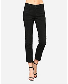 Women's Mid Rise Raw Hem Straight Leg Jeans