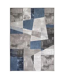 "Yorba Yor01 Gray and Blue 7'10"" x 10'2"" Area Rug"