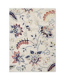 "Haven Hav13 Ivory and Navy 5'3"" x 7'2"" Area Rug"