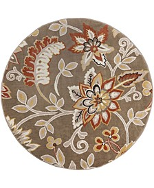 "Haven Hav13 Taupe 5'2"" x 5'2"" Round Rug"