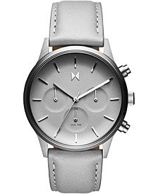 Women's Chronograph Duet Gray Leather Strap Watch 38mm