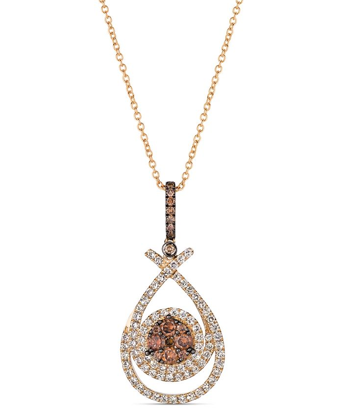 "Le Vian - Chocolate Diamond (1/2 ct. t.w.) & Nude Diamond (3/4 ct. t.w.) 18"" Pendant Necklace in 14k Rose Gold"