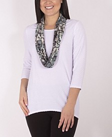 Women's Plus Size Top with Scarf