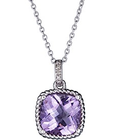 """Pink Amethyst (3 ct. t.w.) & Diamond Accent 18"""" Pendant Necklace in Sterling Silver (Also in Green Amethyst & Sky Blue Topaz)"""