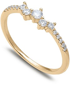 Cubic Zirconia Scattered Band in 18k Gold-Plated Sterling Silver, Created for Macy's