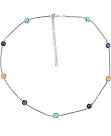"""Multi-Gemstone Station Statement Necklace (8-1/5 ct. t.w.) in Sterling Silver, 18"""" + 2"""" extender"""