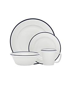 Bistro Blue Band 16-PC Porcelain Dinnerware Set