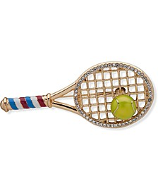 Gold-Tone Pavé Red, White & Blue Tennis Racket Pin, Created for Macy's