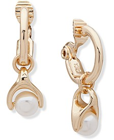 Gold-Tone Imitation Pearl Charm Clip-On Hoop Earrings