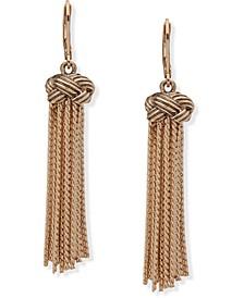 Gold-Tone Knot & Chain Tassel Drop Earrings