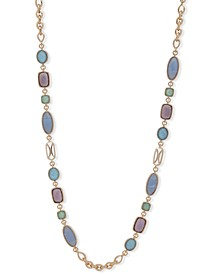 "Gold-Tone Multi-Stone 42"" Station Necklace"