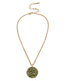 Gold-Tone Sprinkle Stone Pendant Necklace