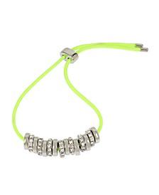 Silver-Tone Pave Bead Colored Friendship Bracelet