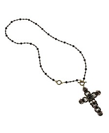 New York Cross Pendant Rosary Long Necklace
