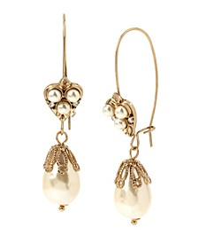 New York Imitation Pearl Long Drop Earrings