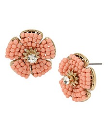 New York Woven Beaded Flower Stud Earrings