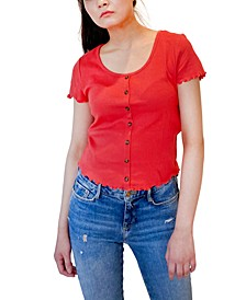 Juniors' Lettuce-Edge Cropped Top