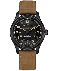 Men's Swiss Automatic Khaki Field Brown Leather Strap Watch 42mm