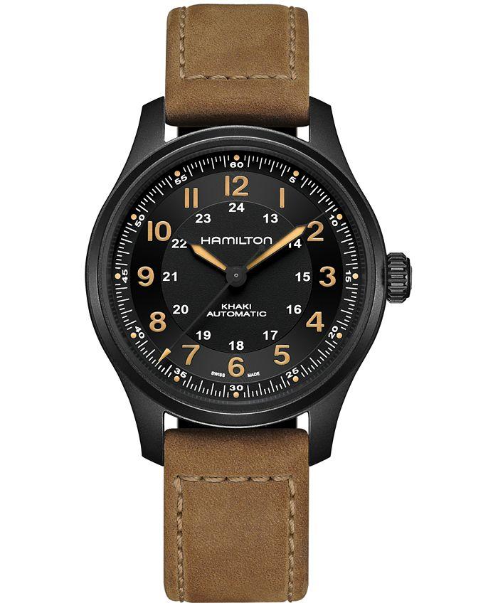 Hamilton - Men's Swiss Automatic Khaki Field Brown Leather Strap Watch 42mm