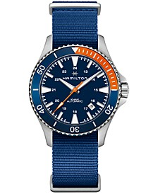 Men's Swiss Automatic Scuba Blue Nato Strap Watch 40mm