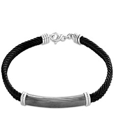 EFFY® Men's Black Leather Cord ID Plate Bracelet in Sterling Silver