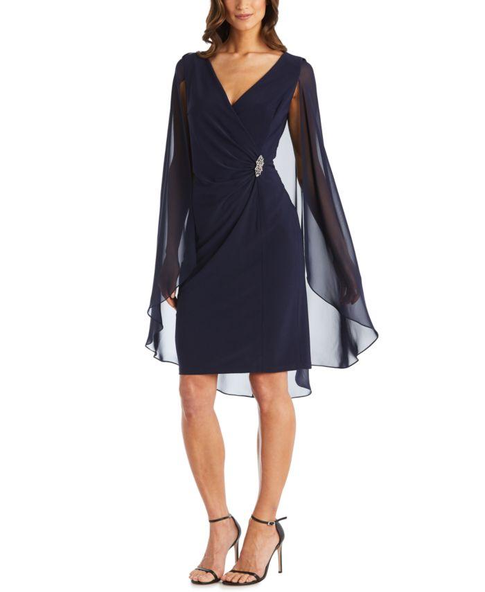 R & M Richards Petite Embellished Chiffon Cape Dress & Reviews - Dresses - Plus Sizes - Macy's