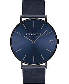 Men's Navy Leather Strap Watch 41mm, Created for Macy's