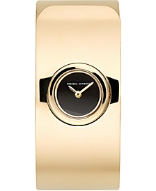 Women's Hooked Gold Ion-Plated Steel Bangle Bracelet Watch 18mm