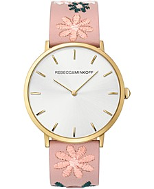 Women's Major Floral Embroidered Blush Leather Strap Watch 40mm