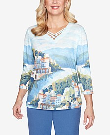 Three Quarter Sleeve Scenic Watercolor Knit Top with Lattice Neckline
