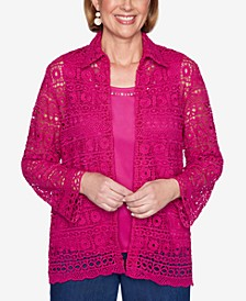 Three Quarter Sleeve Lace Two-For-One Woven Shirt