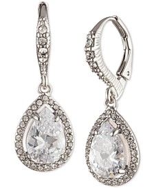 Silver-Tone Pavé & Cubic Zirconia Pear-Shape Drop Earrings