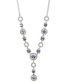"Silver-Tone Crystal Lariat Necklace, 16"" + 3"" extender"