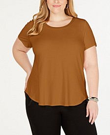 Plus Satin-Trim High-Low T-Shirt, Created for Macy's