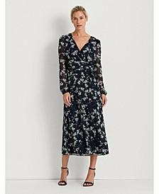 Georgette Puff-Sleeve Dress