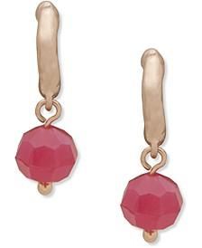 Gold-Tone Colored Bead Charm Huggie Hoop Earrings