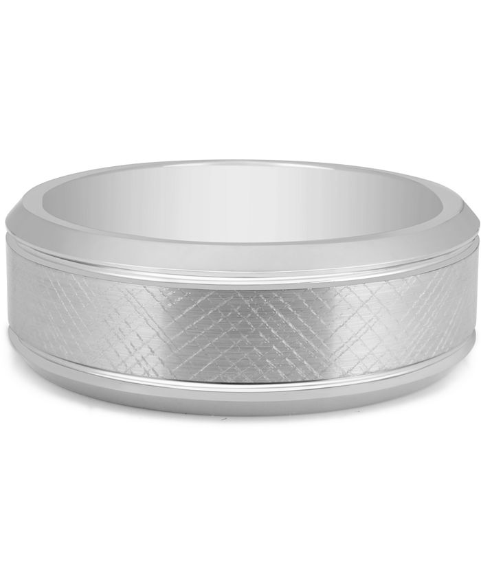 Macy's - Men's Textured Bevel Band in White Ion-Plated Tantalum