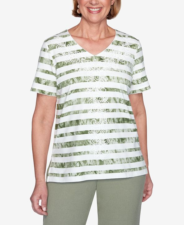 Alfred Dunner Plus Size Tie-Dye Striped Short Sleeve Knit Top