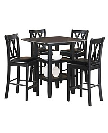 Homelegance Andover Counter Height Dining Room Table and Chairs, Set of 5