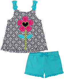 Toddler Girls 2-Piece Floral Motif Top and French Terry Shorts Set