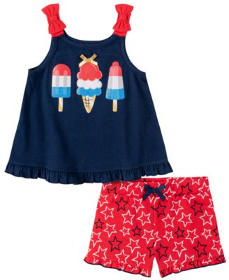 Little Girls 2-Piece American Summer Top and Shorts Set